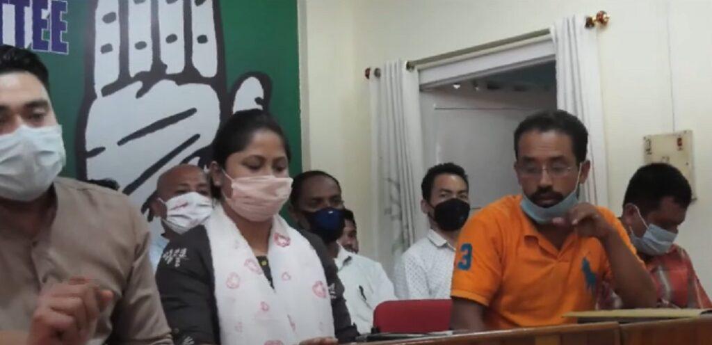 IYC secretary Sarifa Rahman addressing media in Imphal on Monday 1